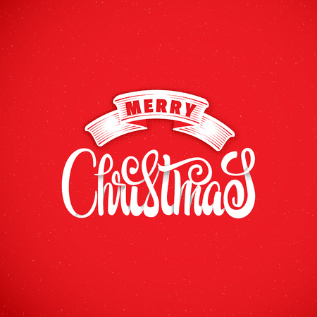 Merry christmas hand-lettering text . Badge drawn by hand, using the skills of calligraphy and lettering, collected in accordance with the rules of typography.