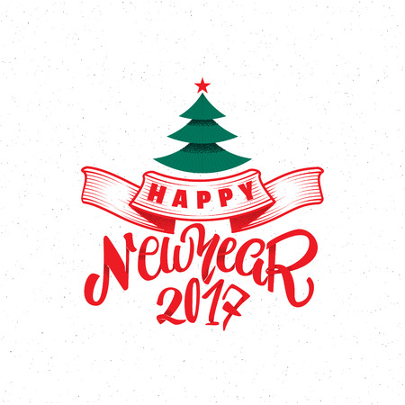 Happy new year 2017- Badge drawn by hand, using the skills of calligraphy and lettering, collected in accordance with the rules of typography.