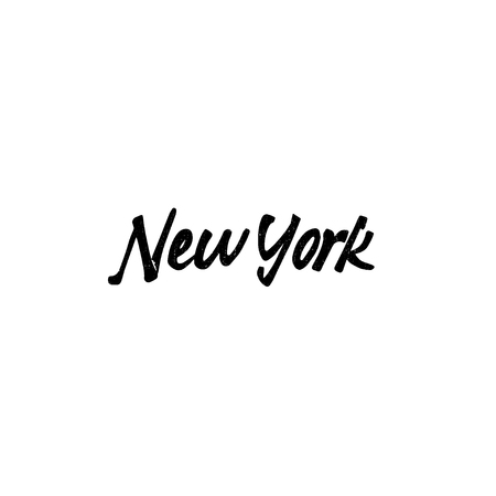accordance: New York - Badge drawn by hand, using the skills of calligraphy and lettering, collected in accordance with the rules of typography.