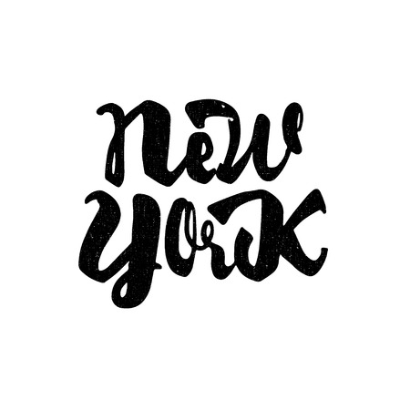 old new york: New York - Badge drawn by hand, using the skills of calligraphy and lettering, collected in accordance with the rules of typography.