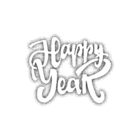 accordance: Happy new year - Badge drawn by hand, using the skills of calligraphy and lettering, collected in accordance with the rules of typography.