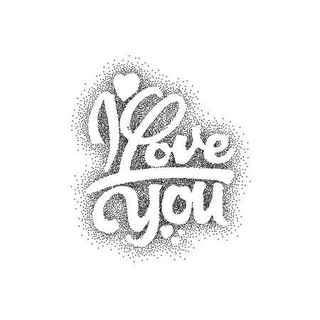 accordance: I love you -lettering text . Badge drawn by hand, using the skills of calligraphy and lettering, collected in accordance with the rules of typography.