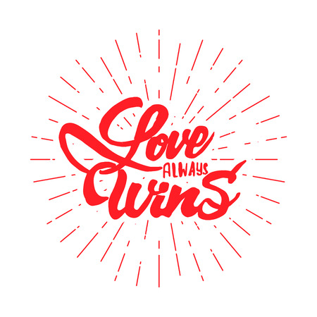 accordance: Love always wins-lettering text . Badge drawn by hand, using the skills of calligraphy and lettering, collected in accordance with the rules of typography.