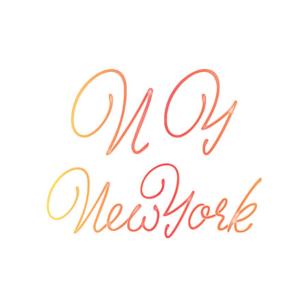 New York - Badge drawn watercolor by hand, using the skills of calligraphy and lettering, collected in accordance with the rules of typography.
