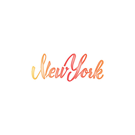 accordance: New York - Badge drawn watercolor by hand, using the skills of calligraphy and lettering, collected in accordance with the rules of typography.