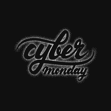 Cyber monday hand-lettering text . Badge drawn by hand, using the skills of calligraphy and lettering, collected in accordance with the rules of typography. Illustration
