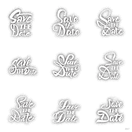 accordance: Save the date - dotwork,hand-lettering text . Badge drawn by hand, using the skills of calligraphy and lettering, collected in accordance with the rules of typography. Illustration