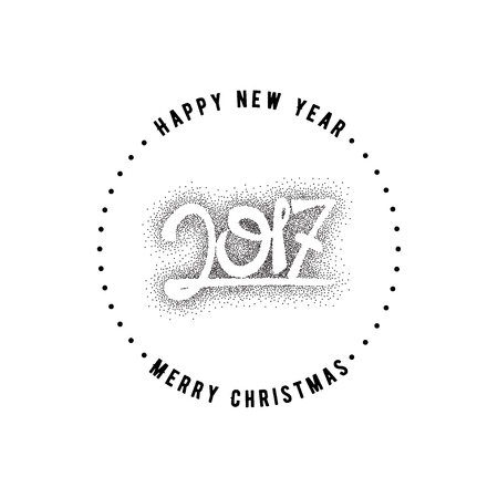 accordance: Happy new year 2017- Badge dotworking drawn by hand, using the skills of calligraphy and lettering, collected in accordance with the rules of typography.