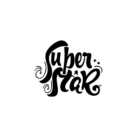 super star: Super star - hand-lettering text . Badge drawn by hand, using the skills of calligraphy and lettering, collected in accordance with the rules of typography.