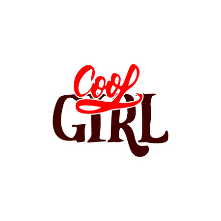 cool girl: Cool girl - hand-lettering text . Badge drawn by hand, using the skills of calligraphy and lettering, collected in accordance with the rules of typography.