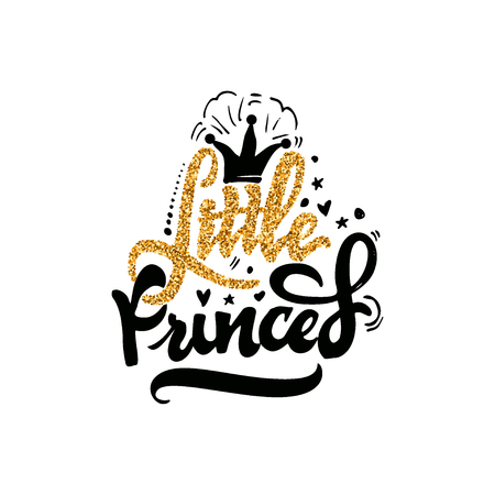 Little Princess - hand-lettering text . Badge drawn by hand, using the skills of calligraphy and lettering, collected in accordance with the rules of typography.