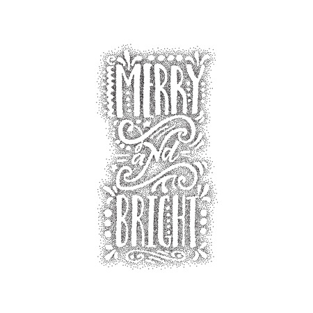 accordance: Merry and bright hand-lettering text . Badge drawn by hand, using the skills of calligraphy and lettering, collected in accordance with the rules of typography.