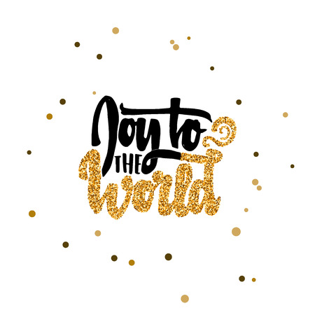 accordance: Joy to the world hand-lettering text . Badge drawn by hand, using the skills of calligraphy and lettering, collected in accordance with the rules of typography. Illustration