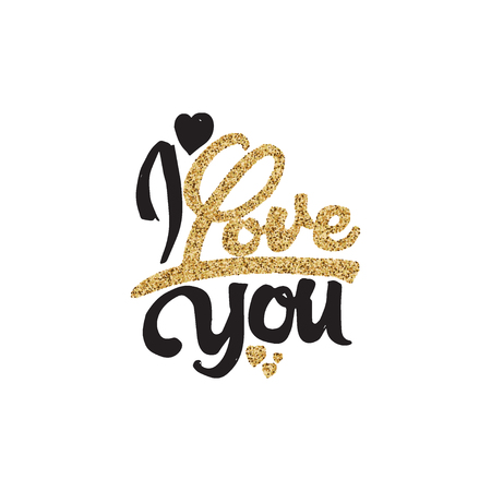 I love you -lettering text . Badge drawn by hand, using the skills of calligraphy and lettering, collected in accordance with the rules of typography.