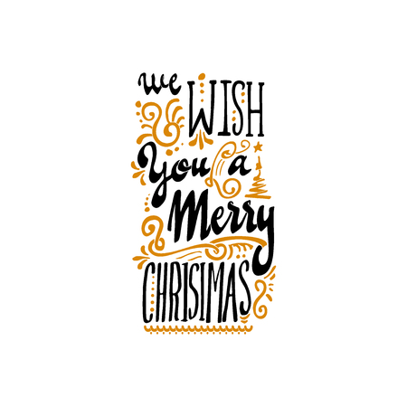 accordance: We wish you a merry christmas hand-lettering text . Badge drawn by hand, using the skills of calligraphy and lettering, collected in accordance with the rules of typography.