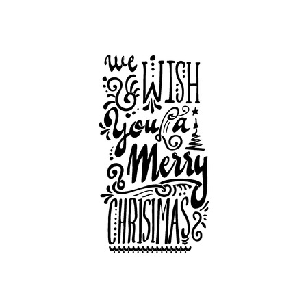 We wish you a merry christmas hand-lettering text . Badge drawn by hand, using the skills of calligraphy and lettering, collected in accordance with the rules of typography.
