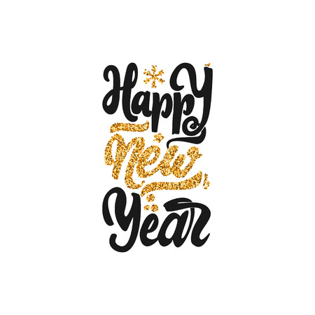 Happy new year 2017- Badge drawn by hand, using the skills of calligraphy and gold lettering, collected in accordance with the rules of typography. Illustration