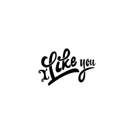 accordance: I Like you. lettering text . Badge drawn by hand, using the skills of calligraphy and lettering, collected in accordance with the rules of typography. Illustration