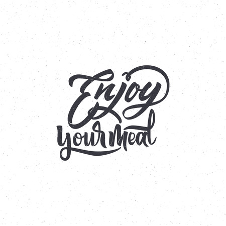 Enjoy your meal . Trace written by pen brush for design. Positive phrase can be used as print, stamp, banner or label,  corporate identity Ilustração