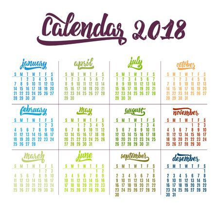 Calendar 2018. Trendy template hand-drawn lettering of months of the year. Brush handwritten names of months.