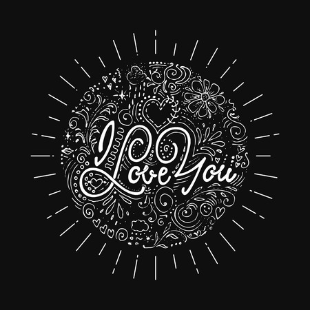 Unique hand drawn lettering - I love you. It can be used for postcards and posters on Valentines Day
