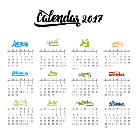 months of the year: Calendar 2017. Trendy template hand-drawn lettering of months of the year. Brush handwritten names of months.