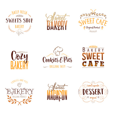 Badge set for small businesses - sweet bakery.