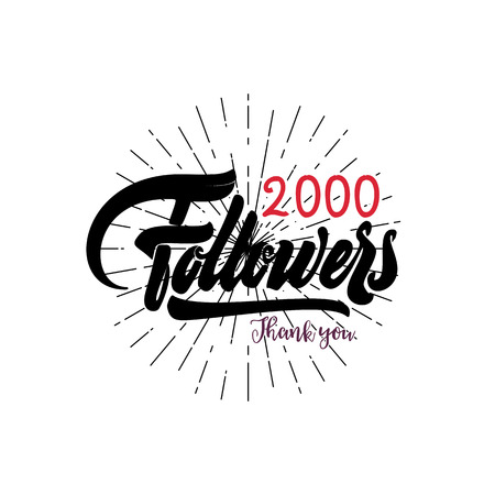 Thank you 2000 followers poster. You can use social networking. Web user celebrates a large number of subscribers or followers. Illustration