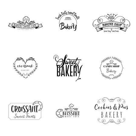 バッジ中小企業 - 甘いパンのセットします。パターン印刷プレート手書きフォントの手作りの作品です。それはあなたの設計のため企業のスタイル