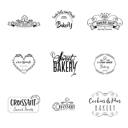 Badge set for small businesses - sweet bakery. The pattern printing plate handmade works written by hand font. It can be used in a corporate style, prints, for your design Çizim