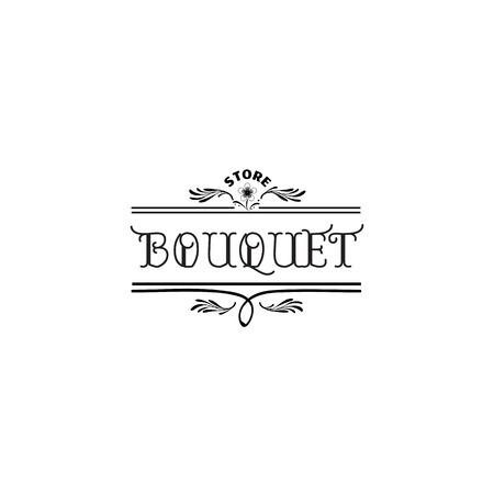 Badge voor kleine bedrijven - Bloemenwinkel Counter Staff. Sticker, stempel, logo - voor ontwerp, met de hand gemaakt. Met het gebruik van bloemenelementen, kalligrafie en belettering
