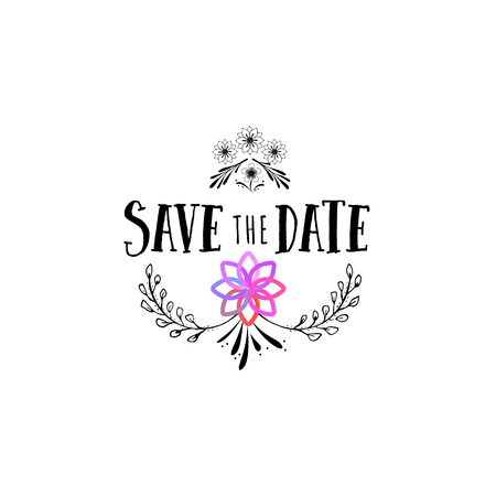 Badge as part of the design - Save the Date Sticker, stamp, logo - for design, hands made. With the use of floral elements, calligraphy and lettering