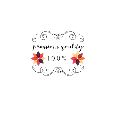 Premium quality Cosmetics logo Sticker, stamp, logo - for design, hands made. With the use of floral elements, calligraphy and lettering