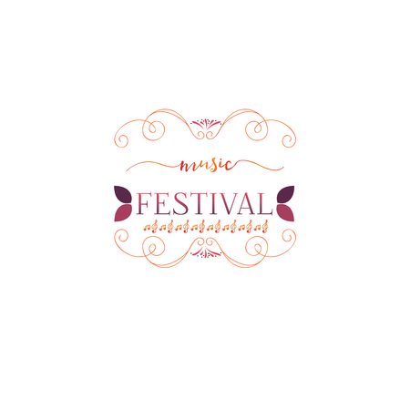 Typographic badges - music Festival. On the basis of script fonts, handmade. It can be used to design your printed products Illustration