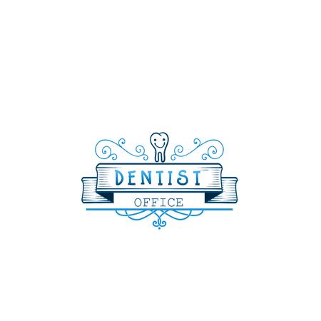 Typografische badges - Tandheelkundige kliniek. Op basis van scriptfonts, handgemaakt. Het kan gebruikt worden om uw gedrukte producten te ontwerpen
