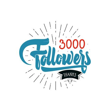 Gracias 3000 seguidores cartel. Puede utilizar las redes sociales. usuario de la web celebra un gran número de suscriptores o seguidores.