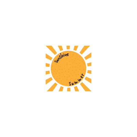 Badge as part of the design - Sun and summer. Sticker, stamp, logo - hands made.