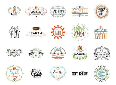 Badge als onderdeel van het ontwerp - Aarde dag. Sticker, postzegel, logo - handgemaakt.