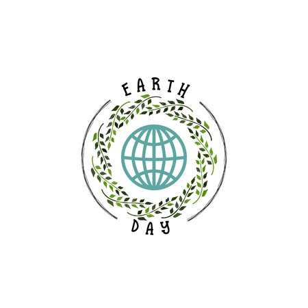 globe logo: Badge as part of the design - Earth day. Sticker, stamp, logo - hand made.