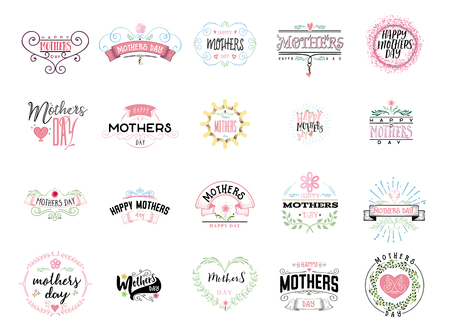Badge as part of the design - Mothers day. Illustration