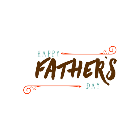 Fathers Day badge design . Sticker, stamp, logo - handmade. With the use of typography elements, calligraphy and lettering