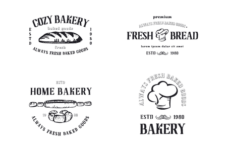 Bakery signboard. Vector typographic colorful design. Badges for your holiday design postcards, posters.