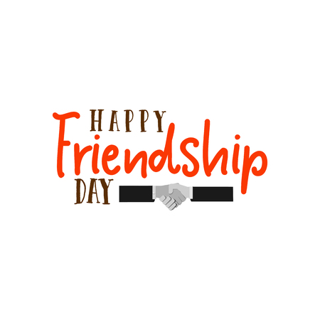 festivity: Happy Friendship day. Vector typographic colorful design. Badges for your holiday design postcards, posters.