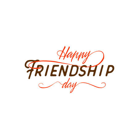 family holiday: Happy Friendship day. Vector typographic colorful design. Badges for your holiday design postcards, posters.