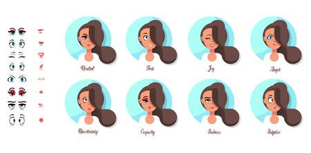 A set of female emotions. The girls expression. Avatar flat design Illusztráció