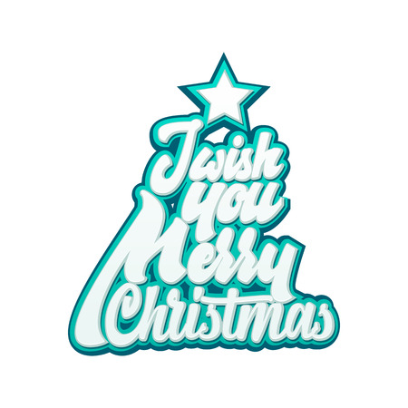 I wish you Merry Christmas. lettering and calligraphy with decorative design elements. Vector festive card.