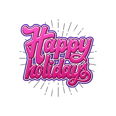 Happy Holidays. Christmas lettering and calligraphy with decorative design elements. Vector festive card. Stock Vector - 89366739