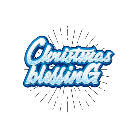 Christmas Blessings. Lettering and calligraphy with decorative design elements. Vector festive card.