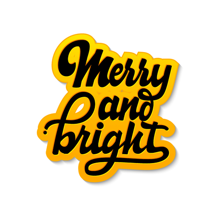 Merry and Bright. Christmas lettering and calligraphy with decorative design elements. Vector festive card. Stock Photo