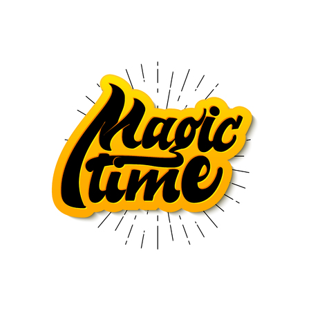 Magic Time. Christmas lettering and calligraphy with decorative design elements. Vector festive card.